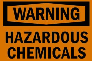 Hazardous chemical sign that should be attached to a wood stove since they create dioxin.